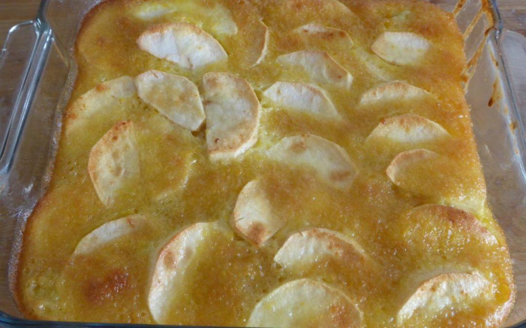 Gâteau fondant aux pommes.