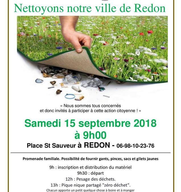 Nettoyons notre ville de Redon le 15 septembre 2018